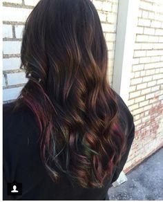 Oil slick inspired hair color: