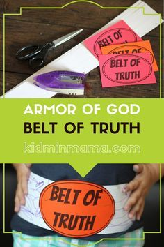 Armor of God Belt of Truth lesson includes welcome question, large group lesson, small group discussion, bible challenge, and printable verse card Preschool Bible Lessons, Bible Object Lessons, Bible Crafts For Kids, Bible Study For Kids, Bible Lessons For Kids, Bible Activities, Kids Bible, Toddler Bible, Jesus Crafts