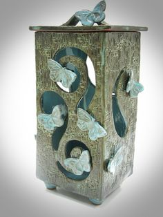 Butterfly Lantern Candle Holder by LisaDPottery, #pottery #lantern #butterfly #butterflies #LisaDPottery.com
