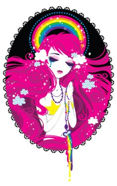 Hail Rainbow, Full of grace. She is the mother of the sky yet another piece for the rainbow set~ being made for a secret project this year. Hail Rainbow, Full of grace Graphic Design Illustration, Illustration Art, Illustrations, Cartoon Drawings, Art Drawings, Lisa Frank Stickers, Graffiti Painting, Pop Surrealism, Art Party