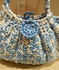 Crochet purse Blue and White Plastic