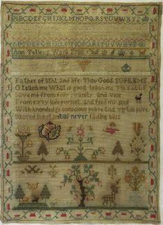 LATE 18TH CENTURY MOTIF, VERSE & ALPHABET SAMPLER BY ANN TETLEY - 1788