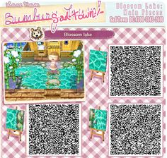 """bumburytown: """" This is the main set of QR codes for a large lake design I made in my animal crossing town. You can use it to make anything from small ponds, big lakes or water boarders! There are also codes for the inside corners and stepping. Animal Crossing 3ds, Animal Crossing Qr Codes Clothes, Acnl Paths, Grass Pattern, Motif Acnl, Ac New Leaf, Big Lake, Small Ponds, Like Animals"""