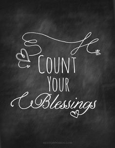 Count Your Blessings - Free Chalkboard Printable