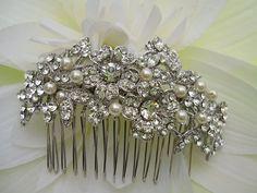 Pearl Wedding hair comb,bridal hair accessories, pearl bridal hair comb,wedding headpieces,crystal bridal comb,rhinestone wedding comb on Etsy, $59.00