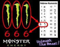 It has recently come to light that Monster Energy Drink's infamous logo actually translates to the numbers 6-6-6 in Hebrew, which represents the devil. Description from blog.buyskateshoes.com. I searched for this on bing.com/images