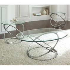 Steve Silver Orion 3 Piece Glass Top Coffee Table Set w/ Chrome Base - RN3000-3-SET from BEYOND Stores