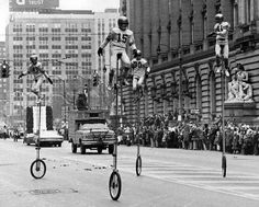 Irish in Cleveland: 1973: St. Helen's Unicycle Team riding high above Cleveland streets