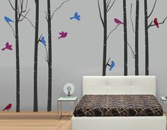 Set of SEVEN Birch Trees with Birds Fabric by StudioWallDecals
