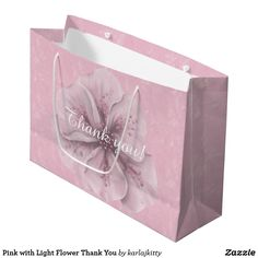 Pink with Light Flower Thank You Large Gift Bag