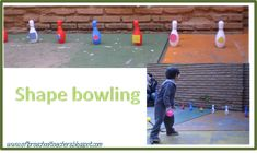 Shapes Bowling: Get a bowling set, add Velcro to each pin and cut out of construction paper the shapes that you working on( add Velcro. Activity Centers, Math Centers, Pre K Age, Language Immersion, Preschool Teachers, Construction Paper, English Class, Numeracy, Young People