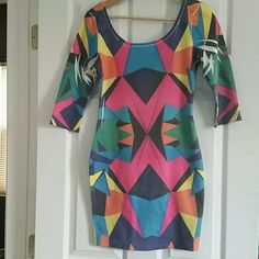 i.ner Geometric Bodycon Dress sz Medium Awesome geometric, bright, bodycon dress, lots of cool details in pattern, shoe possibilities are endless!!! Size is Medium, best for an 8/10, does stretch a bit, not sheer, but will lose color value if stretched, scoopneck HUGS YOUR CURVES! Smoke and pet free home, recently drycleaned.  Please feel free to ask questions, or request additional photos  Don't forget to bundle for discounts! i.ner Dresses Mini
