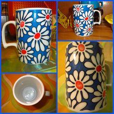 Vintage Midcentury Casserole Dish Peacock Eye Pattern blue white 70s Panton Era Flower Power Hippie Scandi Style German Ceramics Cordoflam