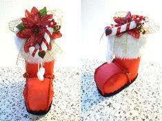 Embalagem de presente em formato de bota do Papai Noel