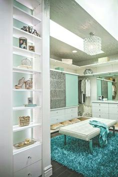 Tiffany blue and white closet