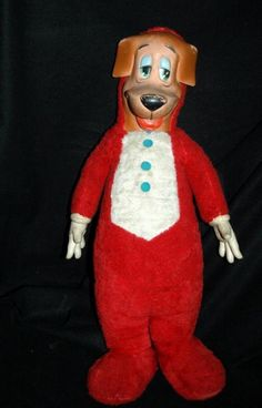 "HUCKLEBERRY HOUND HANNA- BARBARA TV CARTOON SHOW KNICKERBOCKER LARGE PLUSH / RUBBER FACE AND HANDS DOLL 1960's 27"" tall"