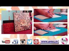 Cómo realizar texturas sobre cartón imitación cuero - Decoupage- Grichu Decoupage, Youtube, Craft, Craft Videos, Leather, Tutorials, Fabrics, Paper Envelopes, Creativity
