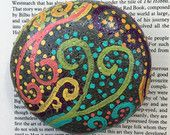 Whimsical Glitter Painted Beach Stone