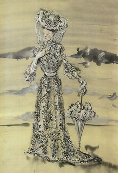 "Irene Sharaff costume sketch for Mary Astor in the 1945 MGM film ""Meet Me in St. Louis""."