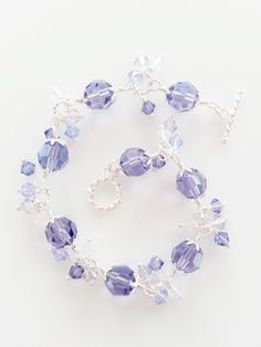 Crystal and Sterling Silver Bracelet in Tanzanite