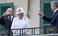 The Royal couple were coming to the end of a frantic three-day state visit to Germany where they attended the party with 650 people