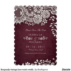 Burgundy vintage lace rustic weddng save the date card Vintage floral lace design on cranberry burgundy red background, elegant and classy, great for vintage wedding, rustic wedding, and country wedding in fall and winter. See all the matching pieces in collection below.