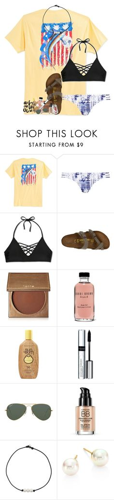 """i've never felt so alone"" by lindsaygreys ❤ liked on Polyvore featuring Guy Harvey, Topshop, Xhilaration, Birkenstock, tarte, Bobbi Brown Cosmetics, Sun Bum, By Terry, Ray-Ban and Majorica"
