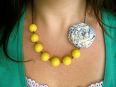 Yellow beaded fabric flower necklace clip by HappyLittleLovelies (fabric flower is removable)