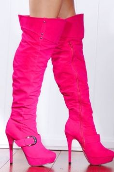 Fuchsia Smooth Faux Suede Buckle Strap Over The Knee Platform Boots - I have no idea where I would wear these but they are awesome!!!