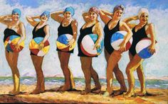 Beach Ball Babes at the Coast - Giclee Art