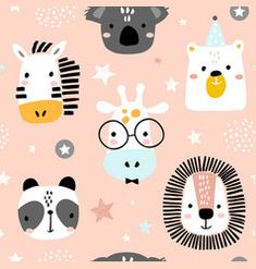 Seamless childish pattern with funny animals faces . Creative scandinavian kids texture for fabric, wrapping, textile, wallpaper, apparel. Vector illustration: comprar este vector de stock y explorar vectores similares en Adobe Stock Funny Animal Faces, Funny Animals, Kids Patterns, Print Patterns, Image Panda, Cartoon Style, Trends 2016, Scandinavian Kids, Motifs Animal