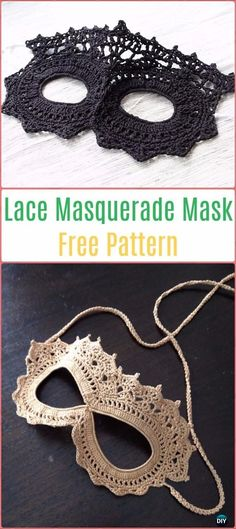 Masquerade Beauty Crochet Eye Mask Patterns: Free and Paid: Crochet lace mask, bead mask, cat mask, party mask, carnival photo mask Crochet Eyes, Crochet Mask, Thread Crochet, Crochet Stitches, Crochet Gratis, Diy Crochet, Knitting Patterns, Crochet Costumes, Accessories
