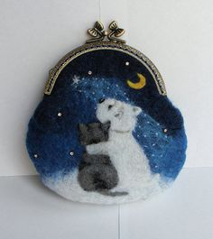 Handmade felted wallet (purse) with dog and cat, Wool pouch, wool wallet. felted pouch