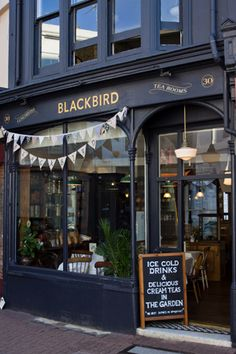 Blackbird Tearooms in Brighton. I like the black with the gold lettering.