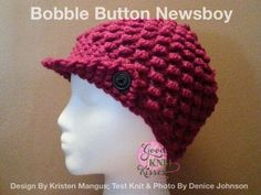 Bobble Button Newsboy - loom knit pattern free!!