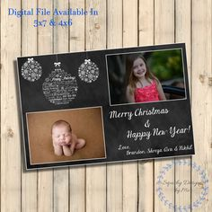 Christmas Cards Personalized, Happy Holidays Greeting Cards, Merry Christmas Chalkboard Christmas Card With Photos, Printable, Digital File by SquishyDesignsbyMe on Etsy
