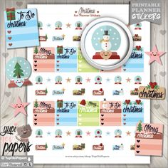 50%OFF - Christmas Stickers, Planner Stickers, Christmas Planner, Christmas Checklist, Printable Planner Stickers, Planner Accessories