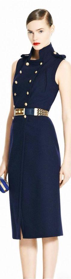 Love this nautical navy blue Alexander McQueen dress!