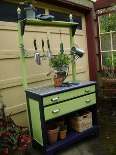 Turn an old chest of drawers into a potting station