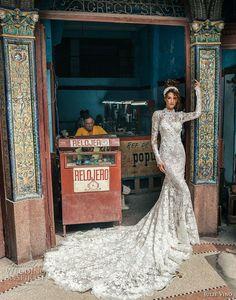 julie vino fall 2018 havana long sleeves high neck full embellishment elegant modest fit and flare wedding dress covered lace back long train (11) mv
