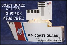 Coast Guard Cutter Cupcake Wrappers with Bridge by PartyScribbles, $5.00