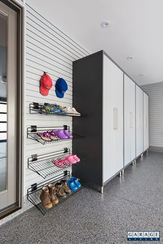 A modular cabinetry system provides ample storage for items that don't get use. A modular cabinetry system provides ample storage for items that don't get used every day. 4 GL P Garage Storage Cabinets, Diy Garage Storage, Kids Storage, Locker Storage, Overhead Garage Storage, Diy Locker, Modular Storage, Kitchen Storage, Garage Renovation