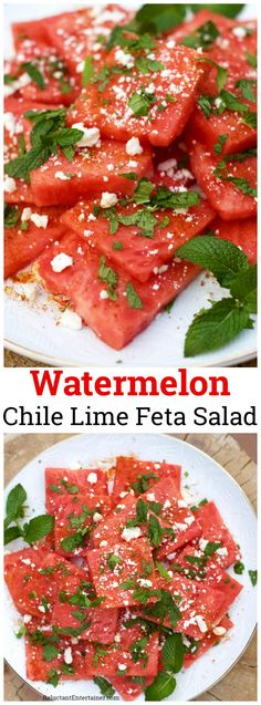 Football Party with Watermelon Chile Lime Feta Salad Watermelon Salad, Watermelon Recipes, Healthy Snacks, Healthy Eating, Healthy Recipes, Chile, Feta Salad, Fruit Salad, Side Dish Recipes