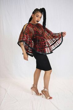 Handmade African Wax Print /Ankara Laced Cape Necklace convertible bathing suit cover up skirt poncho Cape - Together Since Shirts - Ideas of Together Since Shirts - Handmade African Wax Print /Ankara Laced Cape Necklace African Inspired Fashion, Latest African Fashion Dresses, African Dresses For Women, African Print Dresses, African Attire, African Wear, African Design, Fashion Prints, Plus Size Fashion