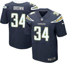 0a4c75d36 Men s NFL San Diego Chargers  34 Brown Dark Blue Elite Jersey Nike Vapor