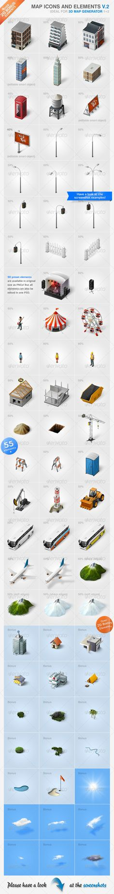Map Icons and Elements - V.2 - GraphicRiver Item for Sale