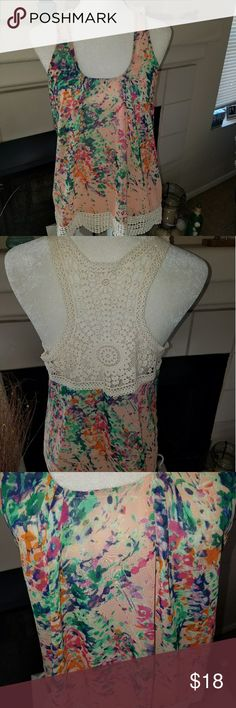 """Collective Concepts top Summer tank with crochet back and trim. Beautiful floral pattern. Measurements  Length: 26.5"""" Bust: 19"""" Collective Concepts Tops Tank Tops"""