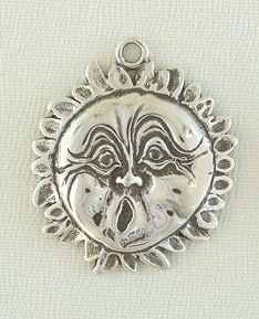 Sterling Silver Jewelry Charm-Sun Face