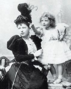 Countess Sophie de Torby with her eldest daughter Countess Anastasia de Torby. Sophie was the morganatic wife of Grand Duke Michael Mikhailovich of Russia.