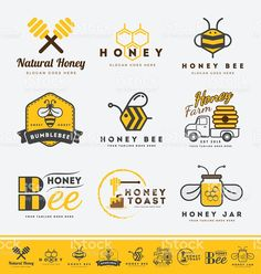 Honey bee logo and labels for honey products. royalty-free stock vector art
